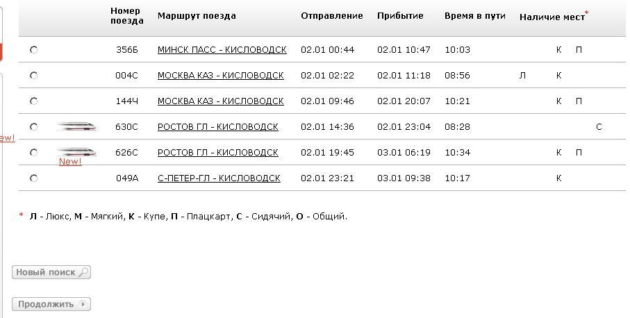 Список поездов на нужную дату