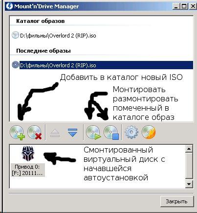 Смонтированный образ диска