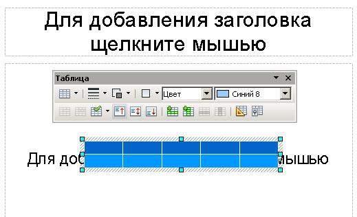 Вставка таблицы в Impress OpenOffice 3