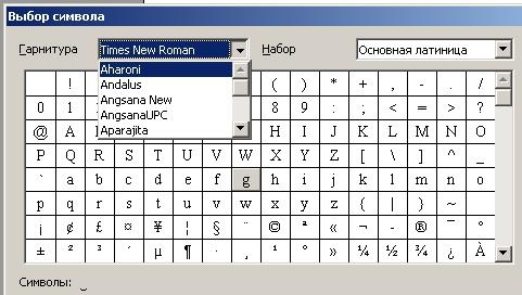 Вставка спецсимволов разными шрифтами в текст